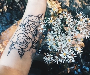 flowers, tattoo, and roses tattoo image