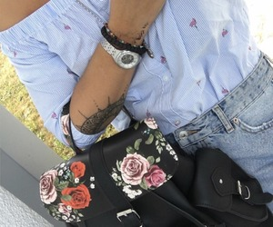 accessories, backpack, and floral image