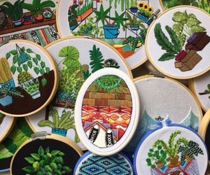 embroidery, green, and plants image