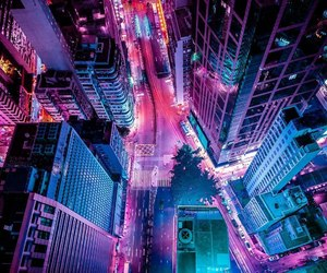 city, neon, and night image