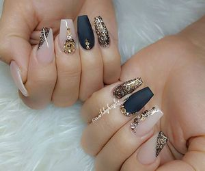 black, nail art, and girl image