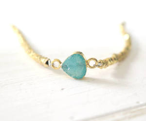 gold, druzy jewelry, and green image
