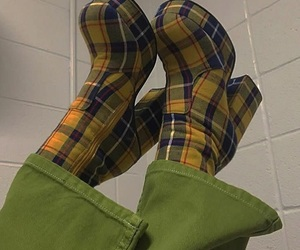 green, boots, and yellow image