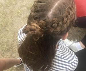 braids, bun, and hair image