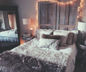 decor, bedroom, and light image