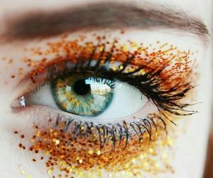 eyes, glitter, and orange image