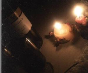 candle, night, and red wine image