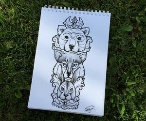 animal, blackandwhite, and illistration image