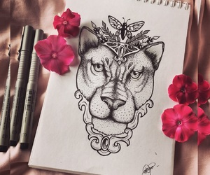 blackandwhite, tattoodesign, and liontattoo image
