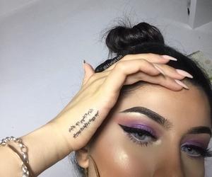 blue eyes, makeup art, and drawing outline baddie image