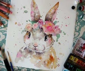 art, bunny, and flowers image