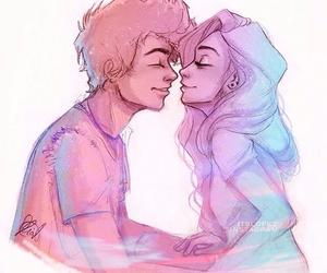 couple, drawing, and kiss image