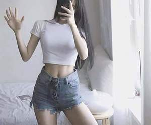 A girl, korean fashion, and skinny image