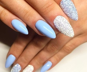 beautiful, almond nails, and blue nails image