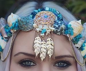 mermaid, blue, and crown image