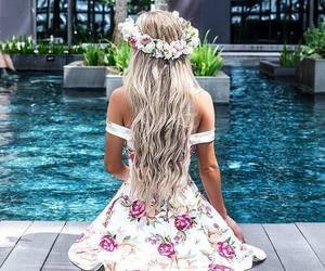 hair, dress, and flowers image
