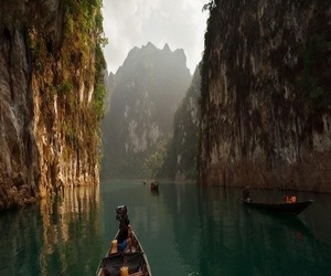 boat, nature, and thailand image