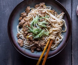 food, meat, and noodles image