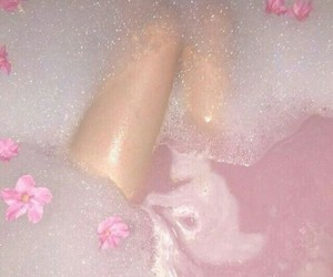 pink, flowers, and bath image
