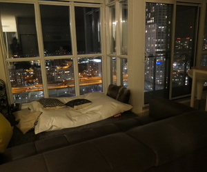 home, living room, and night view image