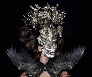 fashion, skull, and feather image
