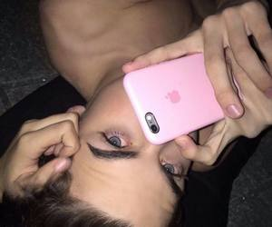 boy, eyes, and pink image