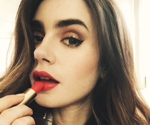 lily collins, beauty, and red image