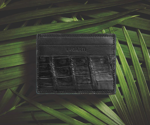 crocodile skin wallet, black gloss wallet, and crocodile leather wallets image