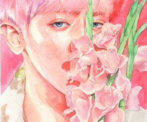 art, chanyeol, and pink image
