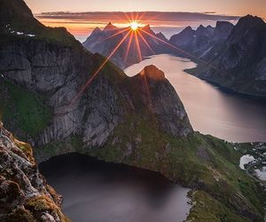 hiking, norway, and sunset image