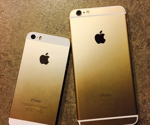 apple, gold, and iphones image