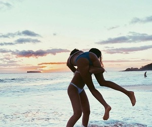 beach, couple, and lesbian image