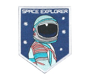 astronaut, patch, and space image