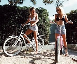 friends, bikes, and girls image
