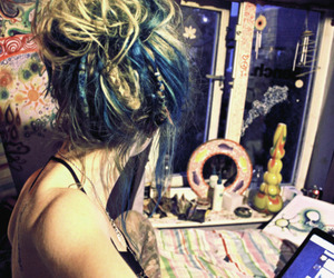dreadlocks, dreads, and blue image