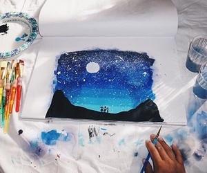 art, blue, and night image