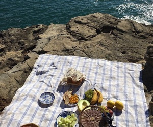 fruit, picnic, and sea image