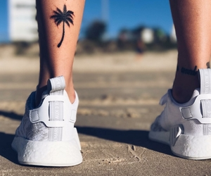 palm trees, sneakers, and summer image