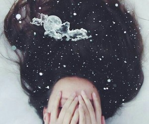 girl, hair, and moon image