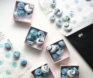 blue, dessert, and meringue image