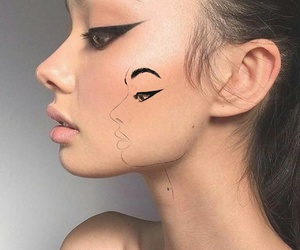 drawing, face, and outline image