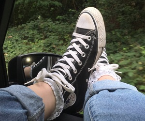 back in black, black, and converse image