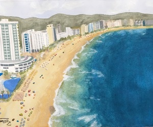 art, beach painting, and beach image