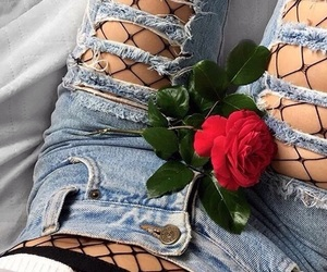 rose, ripped jeans, and style image