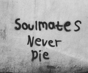 black and white, graffiti, and soulmate image