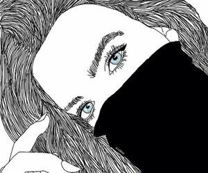 black&white, draws, and girls image