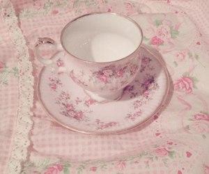 pink, tea cup, and tea image