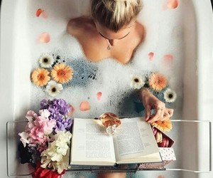 flowers, book, and bath image