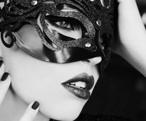 mask, black and white, and woman image