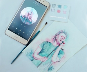 music, watercolor, and watercolour image